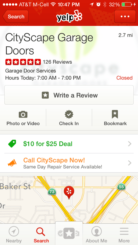 Check Us Out On Yelp Cityscape Garage Doors