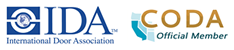 International Door Association logo and California Operator and Door Association logo