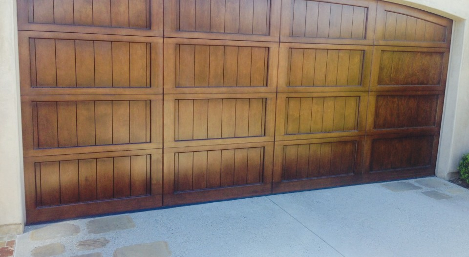 A new wood garage door