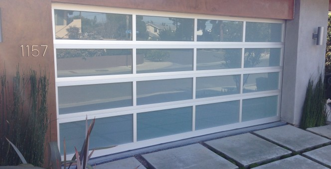 A new glass panel garage door