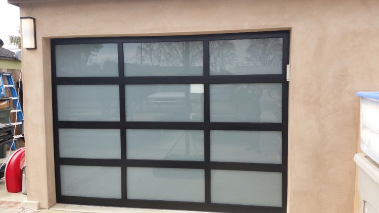 Black Frame With White Laminated Glass In Orange County. Emergency After  Hours Garage Door ...