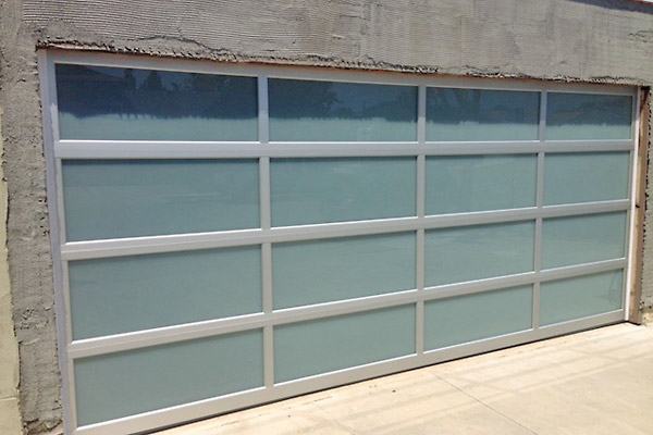 Aluminum frame, frosted glass garage doors