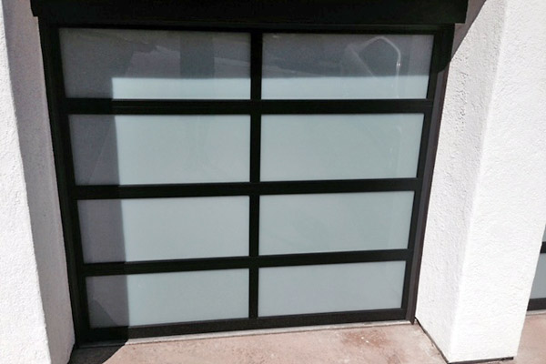 Black frame, frosted glass one door garage