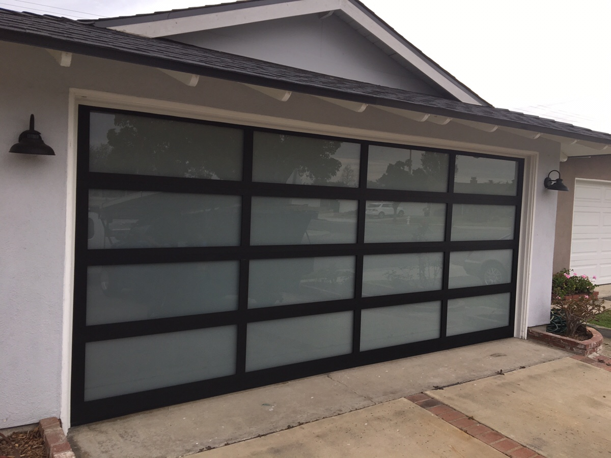 New Aluminum and Glass Garage Door in Costa Mesa